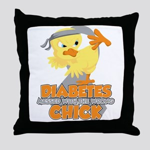 Diabetes Messed With The Wrong Chick Throw Pillow