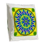 Window Flower 02 Burlap Throw Pillow