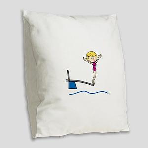 Springboard Woman Burlap Throw Pillow
