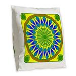 Window Flower 01 Burlap Throw Pillow