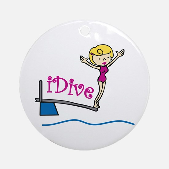 iDive Woman Ornament (Round)