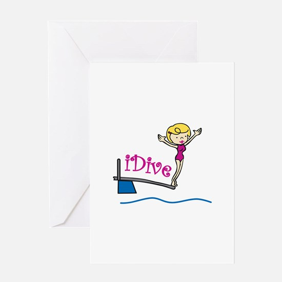 iDive Woman Greeting Cards