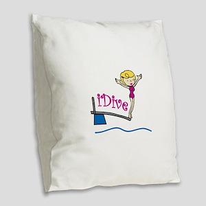 iDive Woman Burlap Throw Pillow
