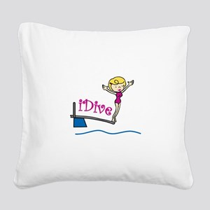 iDive Woman Square Canvas Pillow