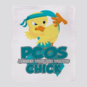 PCOS Messed With The Wrong Chick Throw Blanket