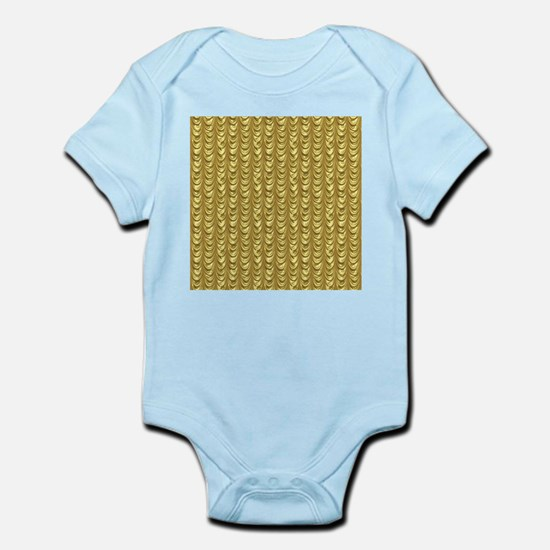 Gold Leaf Draping Curtain Pattern Body Suit