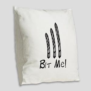Bit Me Burlap Throw Pillow