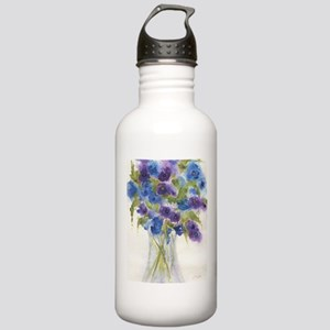 Blue Violet Pansy Flowers Water Bottle