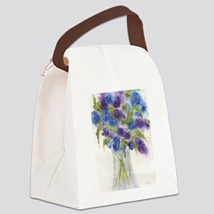 Blue Violet Pansy Flowers Canvas Lunch Bag