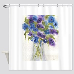Blue Violet Pansy Flowers Shower Curtain