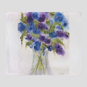 Blue Violet Pansy Flowers Throw Blanket