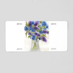 Blue Violet Pansy Flowers Aluminum License Plate