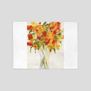 Yellow Orange Flowers 5'x7'Area Rug