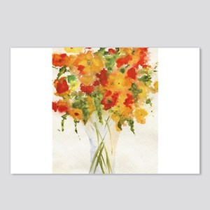 Yellow Orange Flowers Postcards (Package of 8)