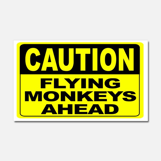 Flying Monkeys Ahead Wide Car Magnet 20 x 12