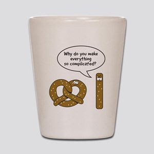 Pretzels complicated Shot Glass