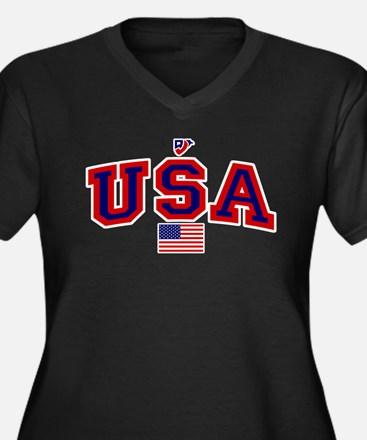 USA Flag Women's Plus Size V-Neck Dark T-Shirt