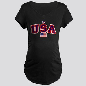 USA Flag Maternity Dark T-Shirt