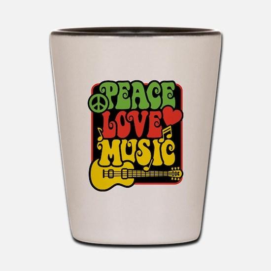 Cute Peace love music Shot Glass