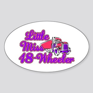 Little Miss 18-Wheeler Sticker (Oval)