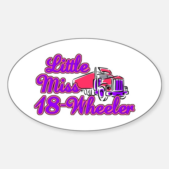 Little Miss 18-Wheeler Sticker (Oval)