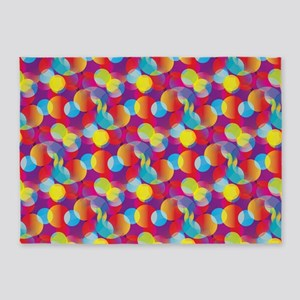 Rainbow Bubble Pattern 5'x7'area Rug