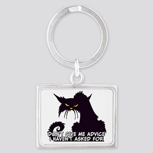 Don't Give Me Advice Angry Cat Landscape Keychain
