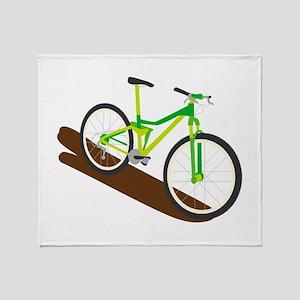 Green Mountain Bike Throw Blanket