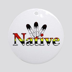 Native text with Eagle Feathers Ornament (Round)