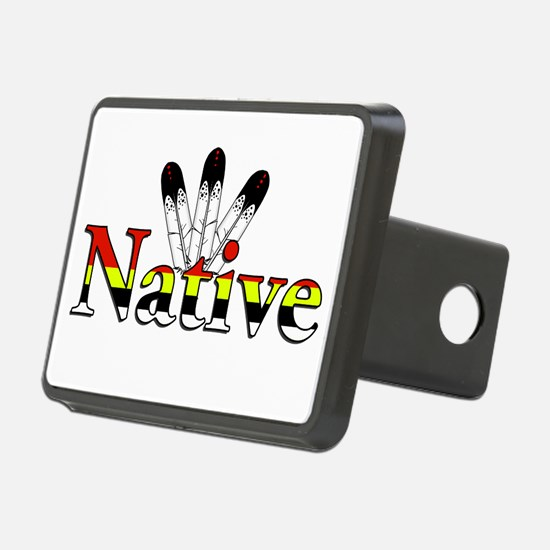 Native text with Eagle Feathers Hitch Cover