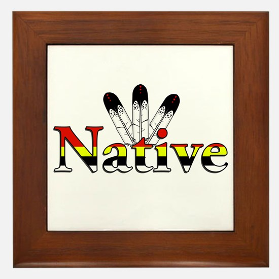Native text with Eagle Feathers Framed Tile