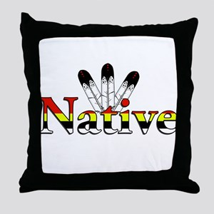 Native text with Eagle Feathers Throw Pillow