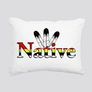 Native text with Eagle Feathers Rectangular Canvas