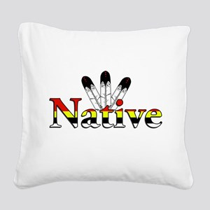 Native text with Eagle Feathers Square Canvas Pill