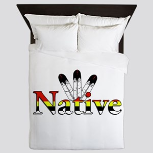 Native text with Eagle Feathers Queen Duvet