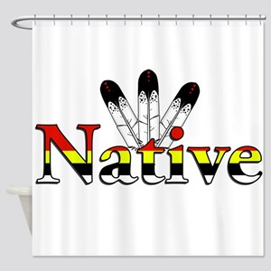Native text with Eagle Feathers Shower Curtain