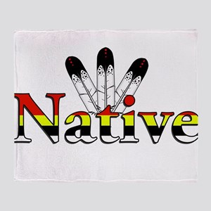Native text with Eagle Feathers Throw Blanket