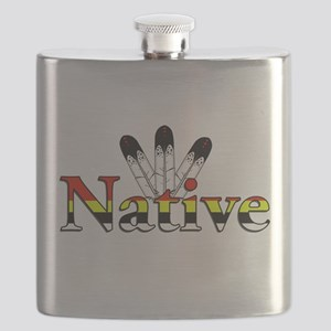 Native text with Eagle Feathers Flask