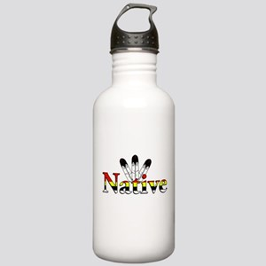 Native text with Eagle Feathers Water Bottle