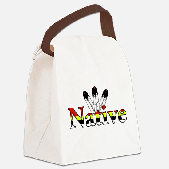 Native text with Eagle Feathers Canvas Lunch Bag