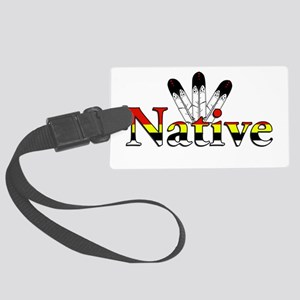 Native text with Eagle Feathers Luggage Tag