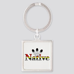 Native text with Eagle Feathers Keychains