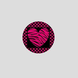 Hot Pink and Black Zebra Polka Dot Mini Button