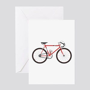 Red Road Bike Greeting Cards