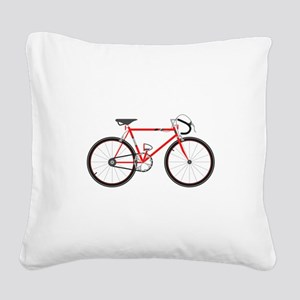 Red Road Bike Square Canvas Pillow