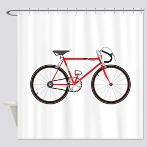 Red Road Bike Shower Curtain