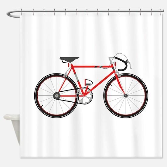 Red Road Bike Shower Curtain