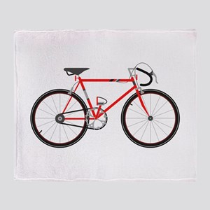 Red Road Bike Throw Blanket