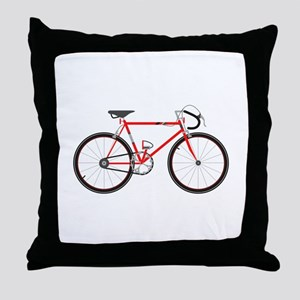 Red Road Bike Throw Pillow
