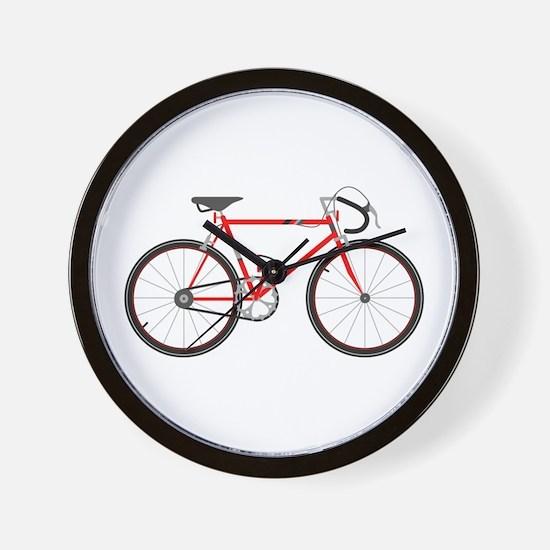 Red Road Bike Wall Clock